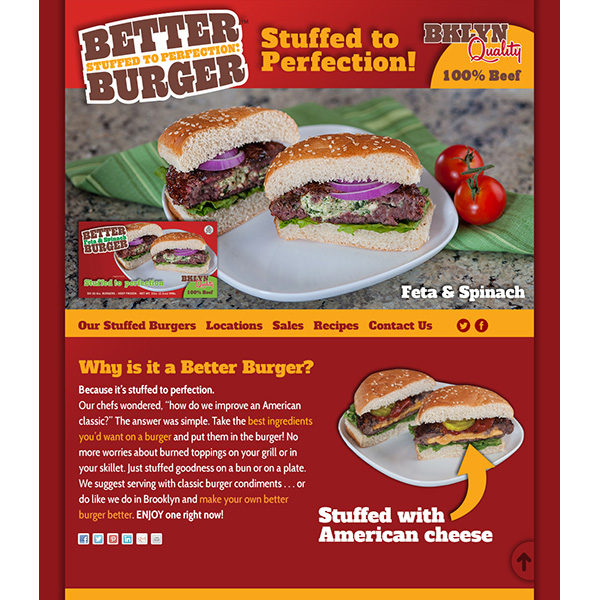 Mr. Pierogi's Better Burger website UI/UX