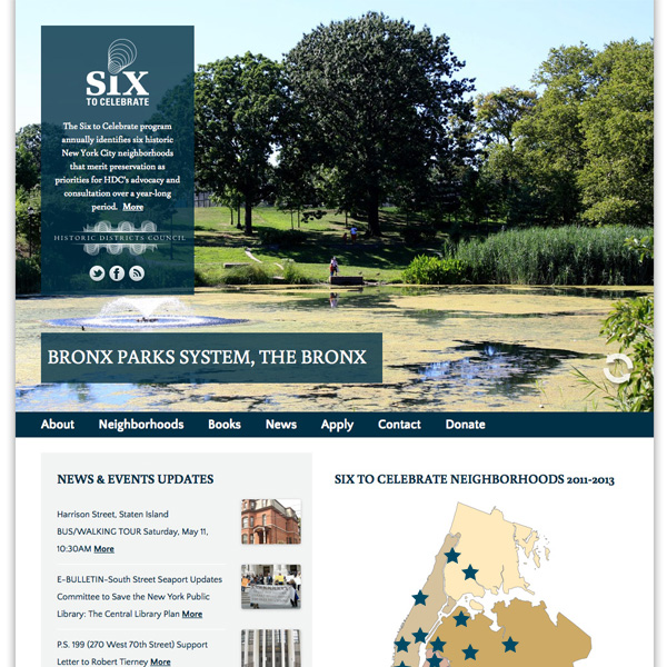 "Historic Districts Council's ""Six to Celebrate"" website front-end design"